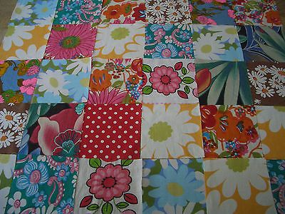 VINTAGE/new/RETRO FABRIC 30 COTTON SQUARES CRAFT PATCHWORK 10 cms x 10 cms