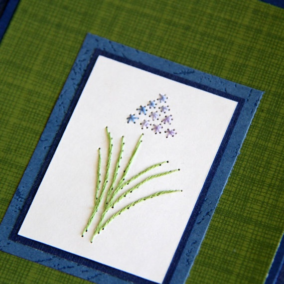 Blue Hyacinth Embroidered Card Flowers Green by SandrasCardShop, $6.75