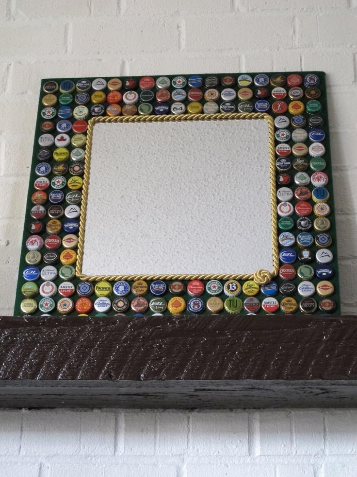 Beer Bottle Cap MirrorBeer/Bottle Caps/Mirror by EsobDesigns, $80.00