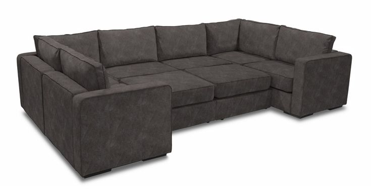 Moon Pit Sectional in Graphite Padded Velvet with Roll Arm