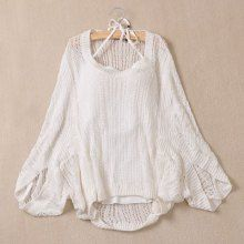 Casual Losse-Fitting Solid Color Openwork Sweater With Tank Top Twinset For Women, WHITE, M in Sweaters & Cardigans | DressLily.com