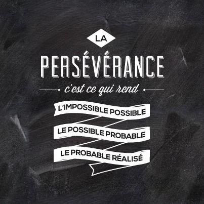 La Persévérance, c'est ce qui rend l'impossible possible, le possible probable, le probable réalisé