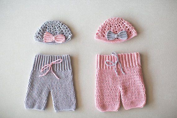 Crochet Twin Baby Pants And Hat Set, Twin Set