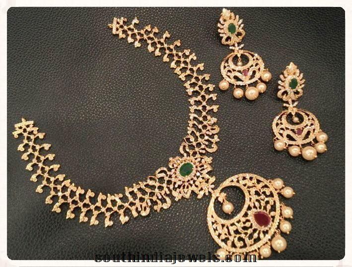 Designer 1 Gram Gold Necklace Sets With Earrings Gold