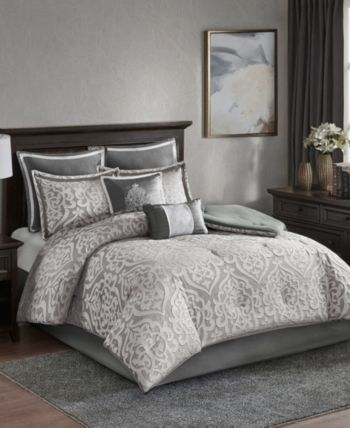 Odette King 8 Piece Jacquard Comforter Set