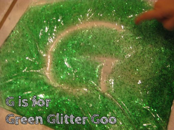 g is for green glitter goo alphabet activities for kids