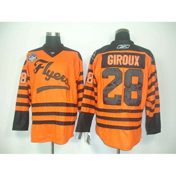 Reebok NHL Claude Giroux 28 Jerseys Philadelphia Flyers Orange Ice Hockey Jersey Winter Classic