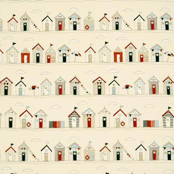 Beach Huts Curtain Fabric
