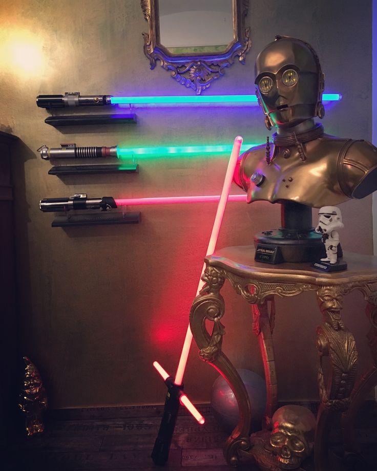 I love my Starwars Lightsaber arsenal. #starwars #lightsaber #lukeskywalker #anikanskywalker #darthvader #kyloren #replica #feeltheforce #c3po