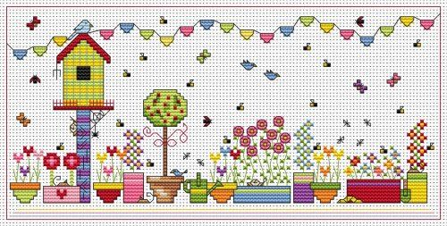 Birdhouse Bunting cross stitch kit