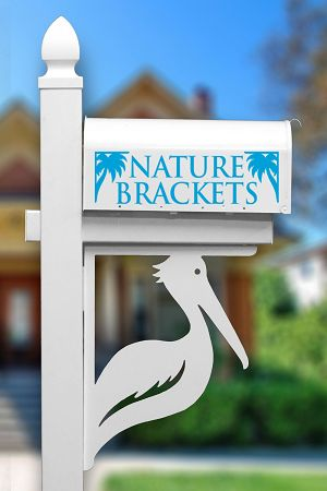 Sanibel Brown Pelican Mailbox Corner Bracket | NatureBrackets.com