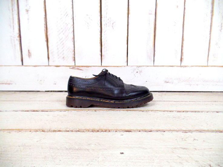 Vintage Doc Martens black leather oxford loafers/black Dr. Martens wing tip shoes/black docs/10 by GreenCanyonTradingCo on Etsy
