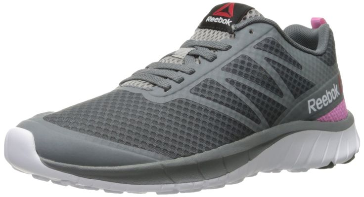 Reebok Women's Soquick Running Shoe, Alloy/Tin Grey/White/Icono Pink/Silver, 6.5 M US. Lightweight running shoe in breathable mesh with enhanced-fit SmoothFuse overlays and webbing loop at back. Lightweight 5mm EVA foam sockliner. Single-density Z Strike-inspired pistons cushioning. Full-height centerline thickness.