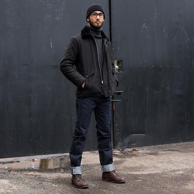 Tom wears the William Gibson B-29 flight jacket and William Gibson beanie with a North Sea Clothing submariner sweater in charcoal, Samurai S710XX 24oz jeans and a well broken in pair of Red Wing 8111 iron Rangers! All available in store and online!  #denim #rawdenim #selvedge #selvage #selvedgedenim #buzzrickson #jeans #boots #redwing #sonofastag
