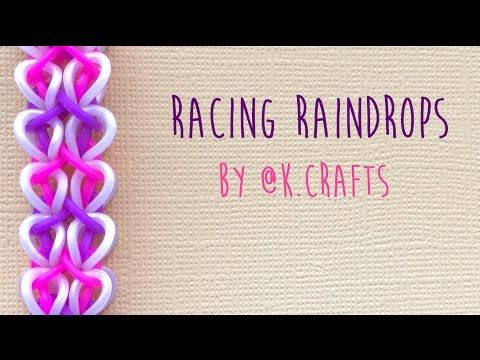 Rainbow Loom Bands Racing Raindrops by @K.Crafts Tutorial. The thumbnail is mixed up somehow. The tutorial is as the description says, not the vesable bracelet.