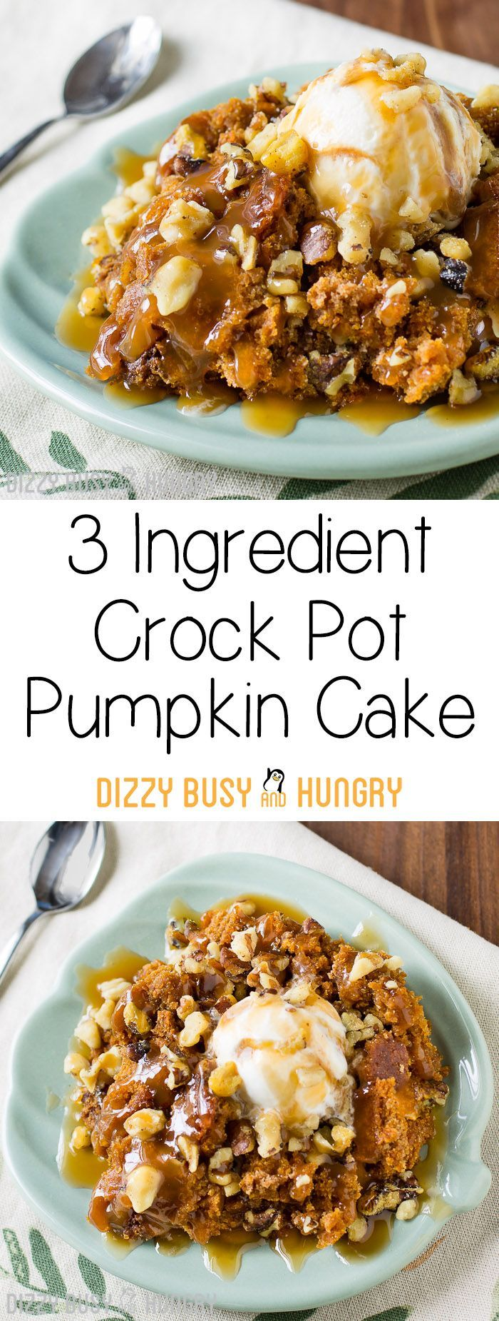 3 Ingredient Crock Pot Pumpkin Cake   DizzyBusyandHungry.com - Sweet treats don't get any easier than this! Serve warm, and top it with caramel sauce, chopped walnuts, and vanilla ice cream, and you have a dessert to die for!