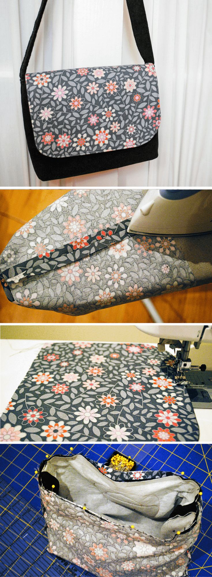 Free sewing pattern for a kid-sized messenger bag. It's an easy DIY sewing p…