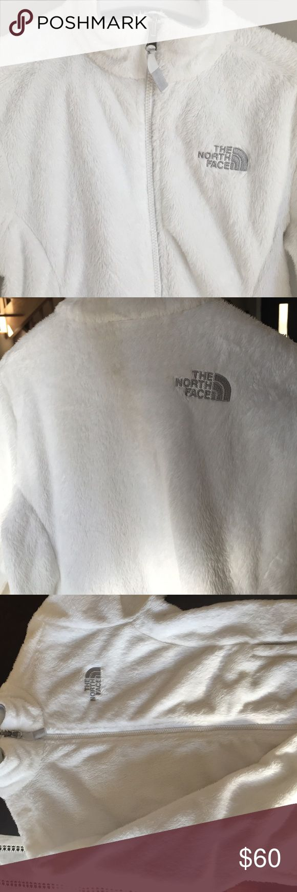 White north face jacket Very soft furry lined north face jacket. Barely worn perfectly white, accompanied with grey accents. North Face Jackets & Coats