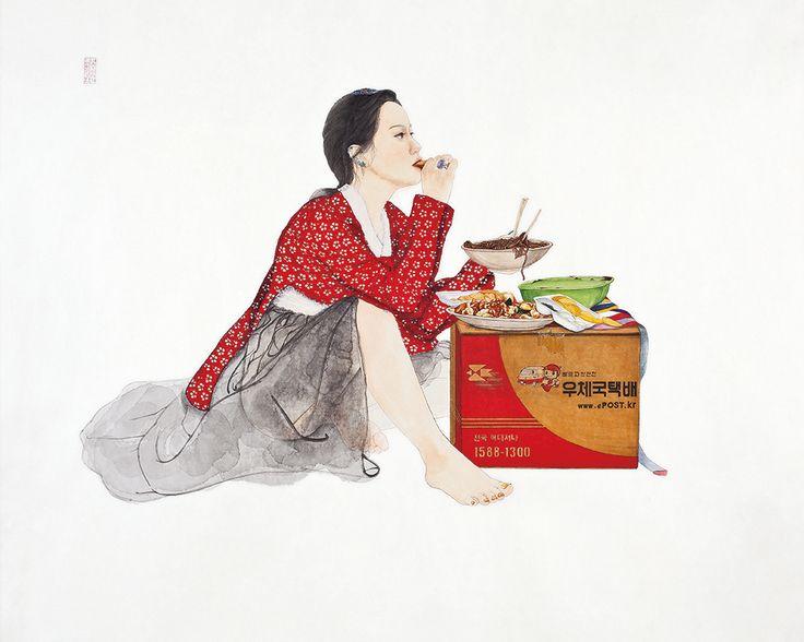 완벽한 밥상, Painting with Korea traditional ink,Color and collage on Traditional Asian paper, 162 x 130 cm, 2014