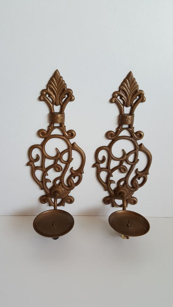Vintage Pair Ornate Gold Tone Wall Sconces Candle by RetroEnvy21