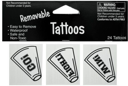 Removable White Cheer Tattoos Case Pack 24