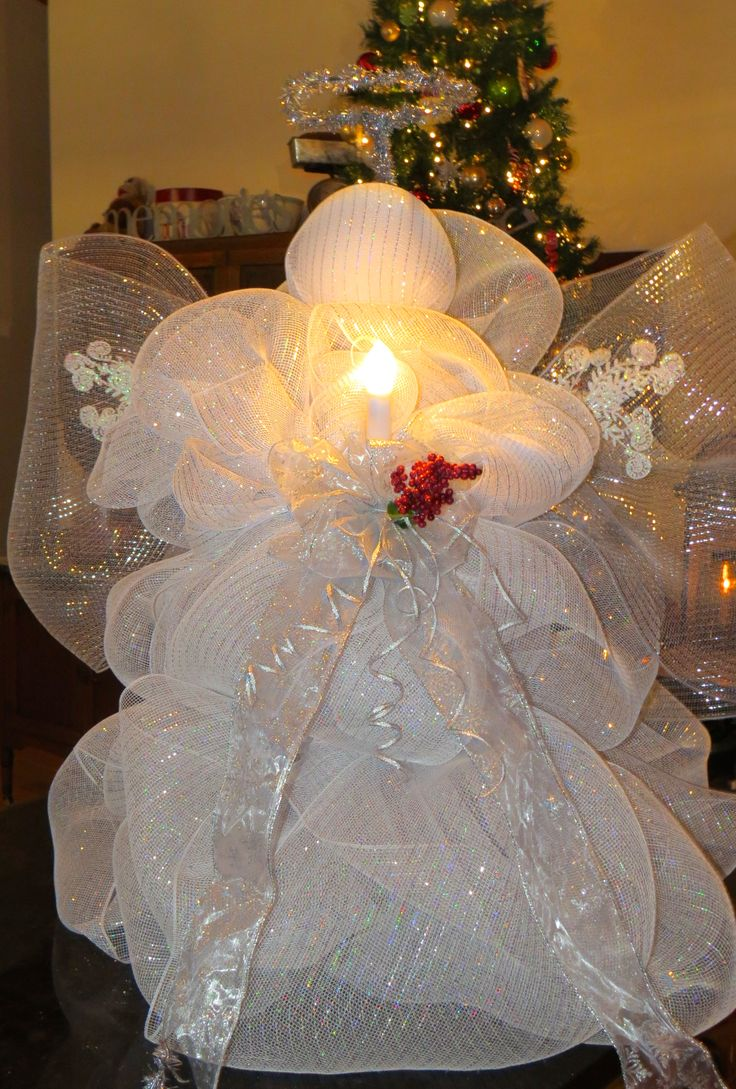 """Deco Mesh Angel~(picture only) I made this using an upside-down tomato cage. Approximately 32"""" high when finished."""