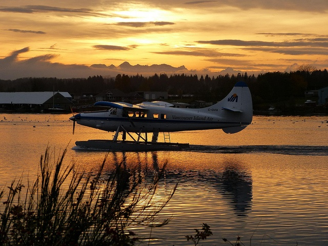 a float plane returns to base in Campbell River at sunset.