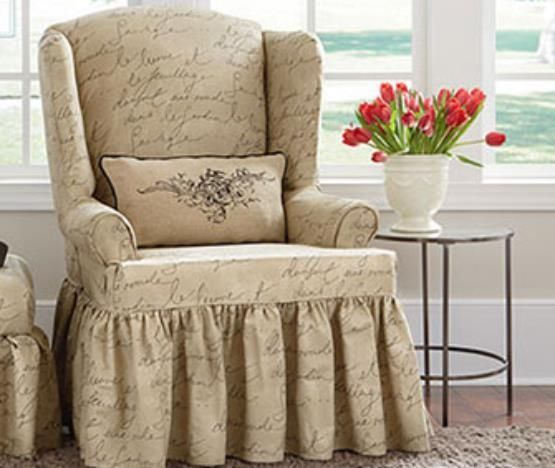 Sure Fit Pen Pal by Waverly Wing Chair Slipcover  Marlene