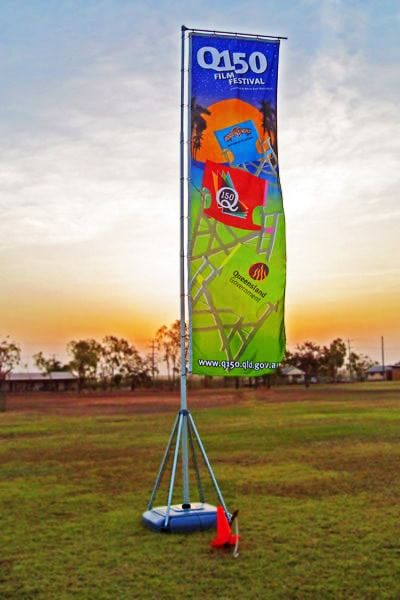 Portable flag pole for a film festival.