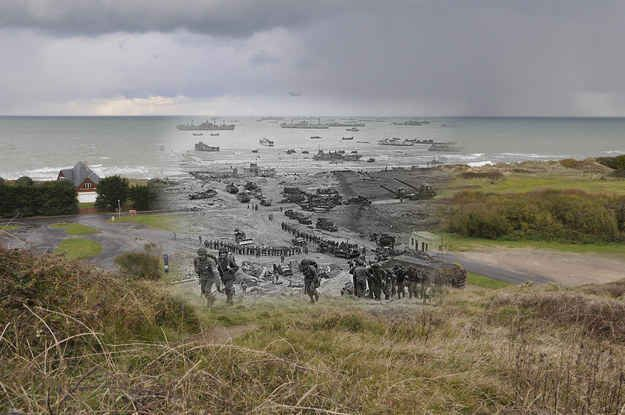 D-day, Normandy, 1944. Great collage of historical WWII photos meshed with their current locations.
