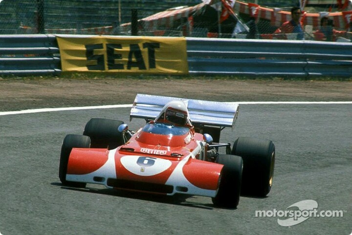 Clay Regazzoni, with a special nose on his Ferrari, in the Spanish GP, 1972.