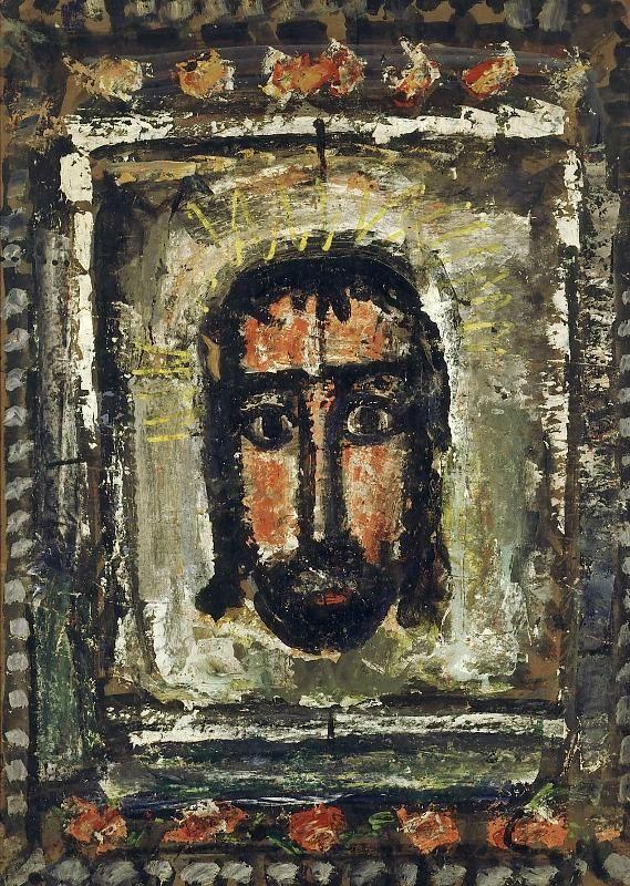 """Georges Rouault, """"La Sainte Face"""", 1933, Huile, gouache sur papier marouflé sur toile, 91 x 65 cm, Paris, Musée Natiional d'Art Moderne © Centre Pompidou, MNAMCCI, RMN-Grand Palais/Philippe Migeat © ADAGP Paris 2016"""