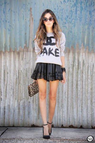 Chic sweatshirt + Laser cut skater skirt <3   Meet our the hottest items at www.toskaclothing.com