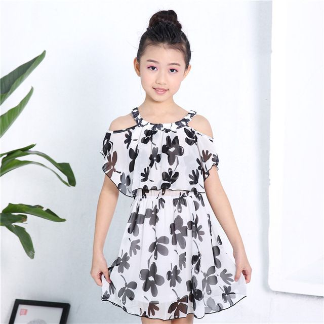 Детская одежда 2018 Летний Новый шифон Платье на завязках От 3 до 12 лет Детская одежда для девочек платье для девочек купить на AliExpress
