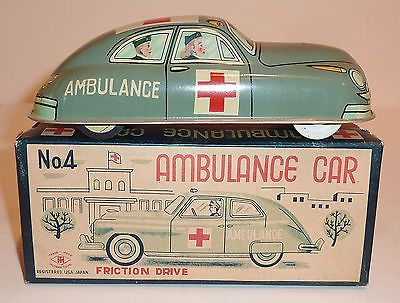 Masudaya MT Japanese Tin Litho Friction C 1950 Ambulance Car with Box 7 25""