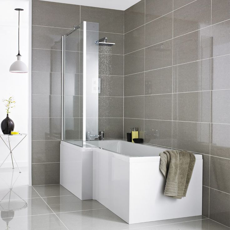 Premier L-Shaped Shower Bath With Acrylic Front Panel & Screen    victorian plumbing