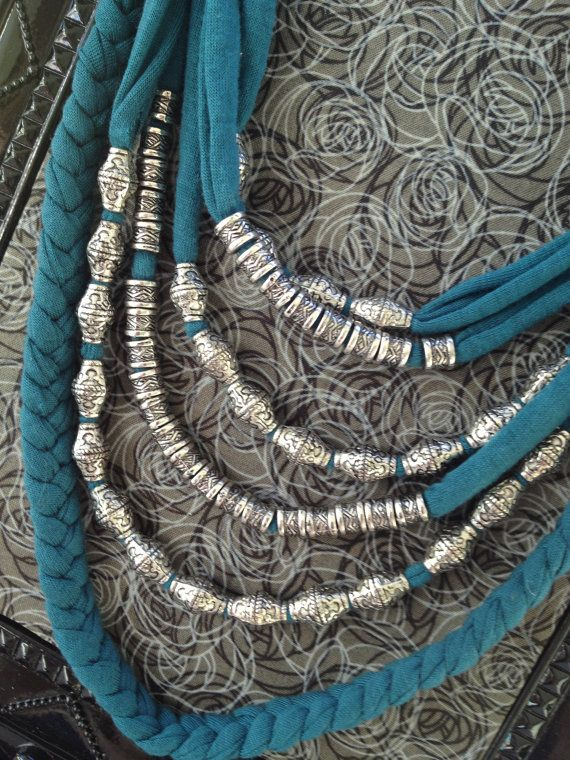 Teal Tshirt Necklace with Silver Beads by TheHoneyHoleShop on Etsy