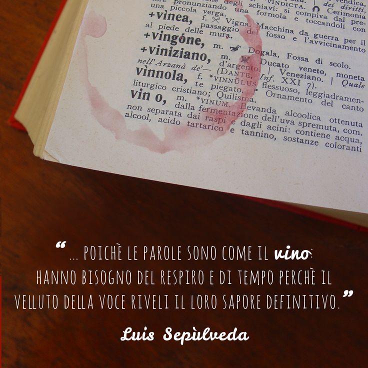 """""""…poichè le parole sono come il vino: hanno bisogno del respiro e di tempo perchè il velluto della voce riveli il loro sapore definitivo."""" Luis Sepùlveda #vino  #citazioni #afroismi #wine #quote"""