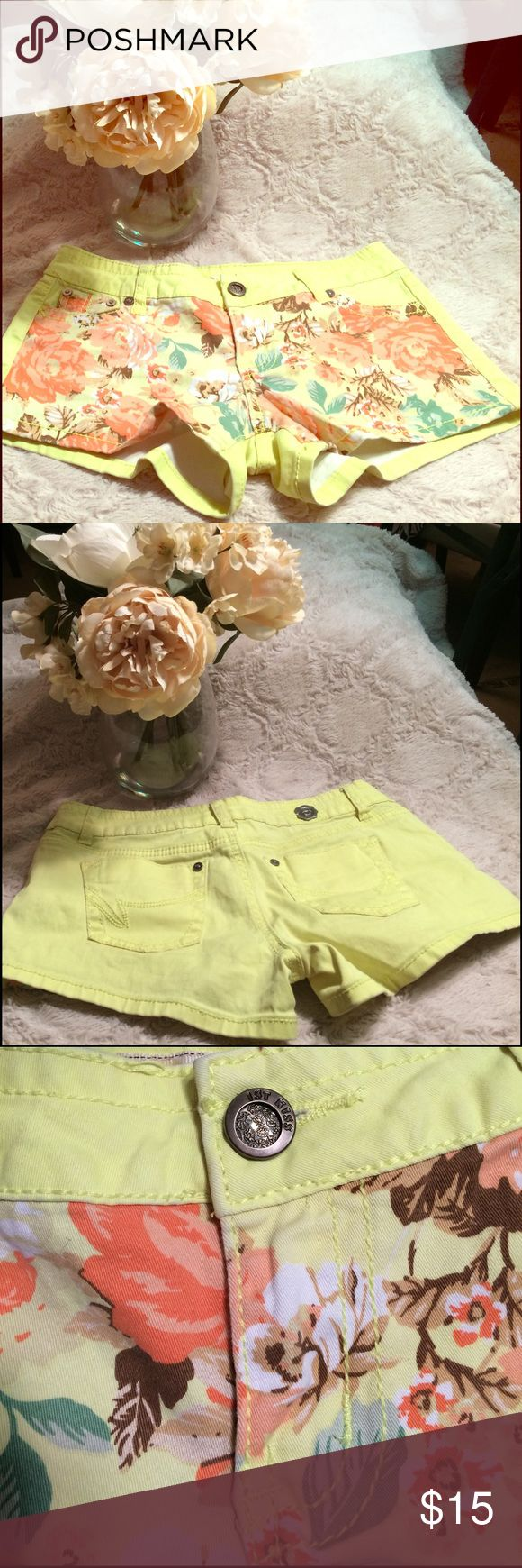 Neon Yellow Floral Shorts Neon yellow. Floral front. EUC. 1st kiss brand. Shorts
