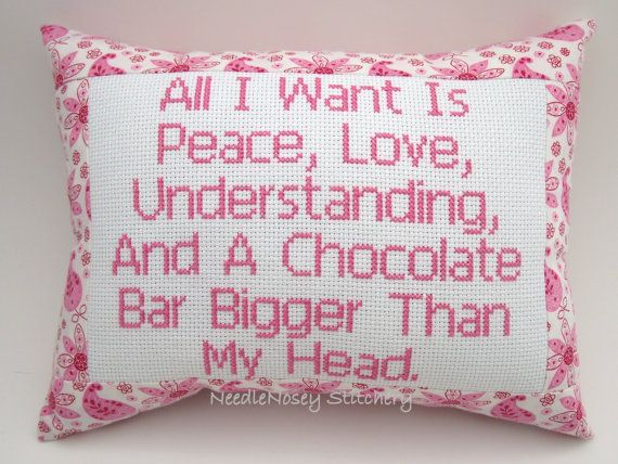 Cross Stitch Pillow Funny Quote Pink Pillow by NeedleNosey on Etsy, $20.00