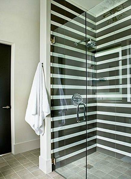 Stripes in the shower - I think this works best if it's on two of the shower walls. The door and third wall should be glass.