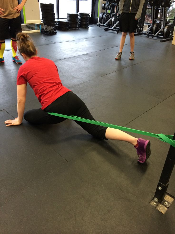 Banded Pigeon Pose For Hip Flexion And External Rotation