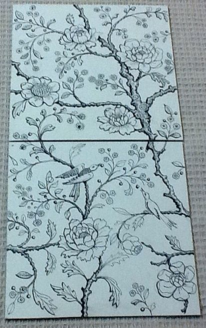 """Design by David B. Kelly. Two tile alternating design using 6"""" by 6"""" handmade ivory colored crackle glazed tiles. Standard printing color for the glaze decals is sepia, however, any color is possible as an upcharge. Also hand painted colors can also be applied requiring a second firing-I think this would be stunning."""
