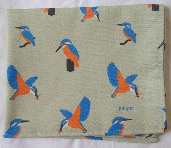 Kingfisher tea towel  kingfisher kitchen towel  kingfisher