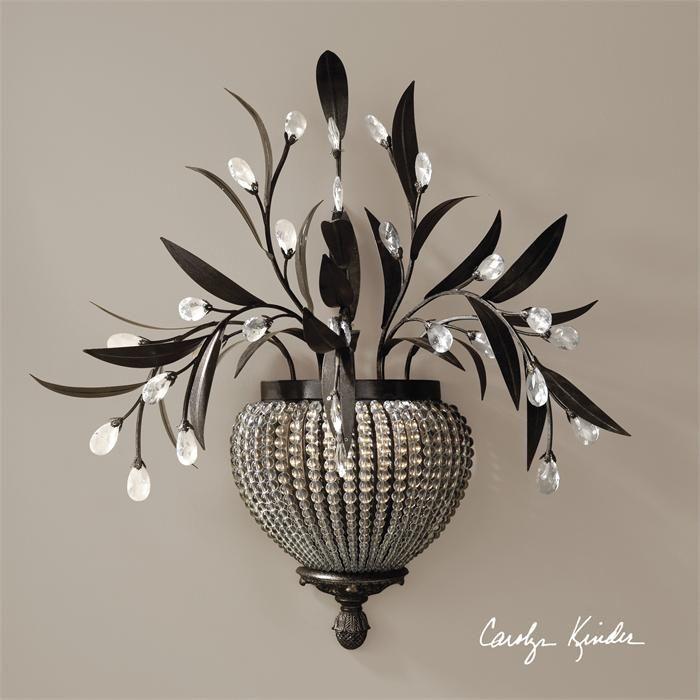 Великолепное бра, декорированное кристаллами. Такое бра несомненно украсит любой интерьер. Рассчитано на 60W.             Материал: Металл, Хрусталь.              Бренд: Uttermost.              Цвета: Серый, Черный.