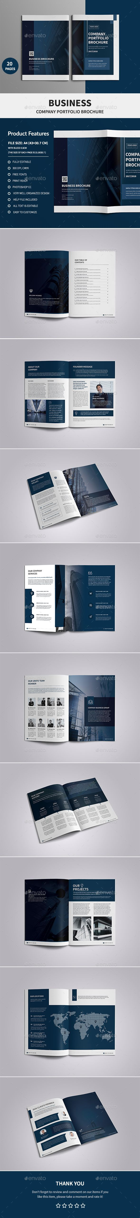 Corporate Company Profile Brochure Template PSD - 20 Pages
