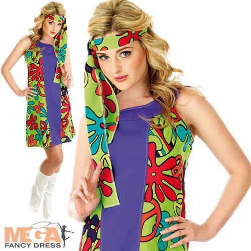 UV Purple Hippie Dress Ladies Hippy Fancy Dress 60s 70s Costume Outfit UK 6-22