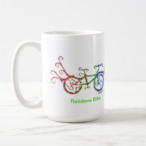 Rainbow Bike Coffee Mug #rainbow #coffee #mugs