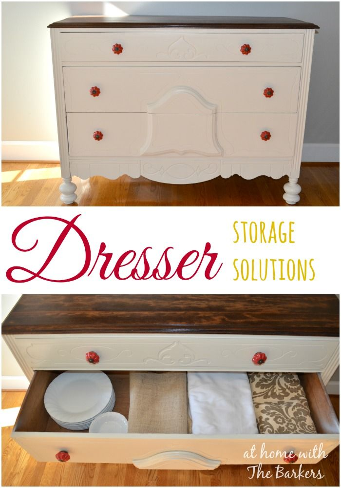 Dresser Storage Solutions using a yard sale find! #organization - this would be great for a coffee station too