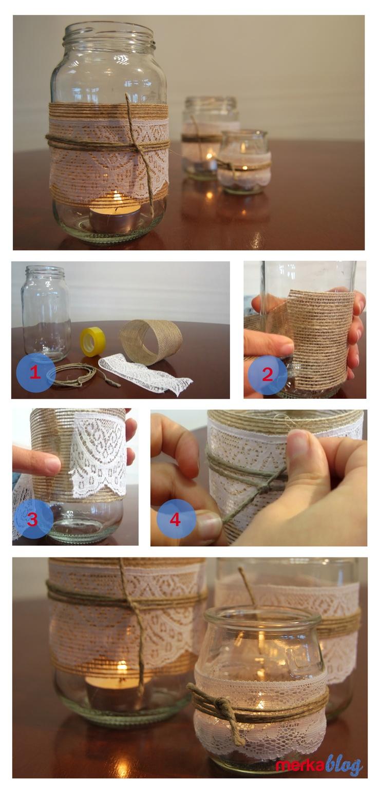 Portavelas realizados con tarros de conservas y yogures http://www.youtube.com/watch?v=_22kGBQCvOc=UUj0g0PQW3k_NjqZB98oypgA=1=plcp   Visítanos en www.merkashop.es/blog